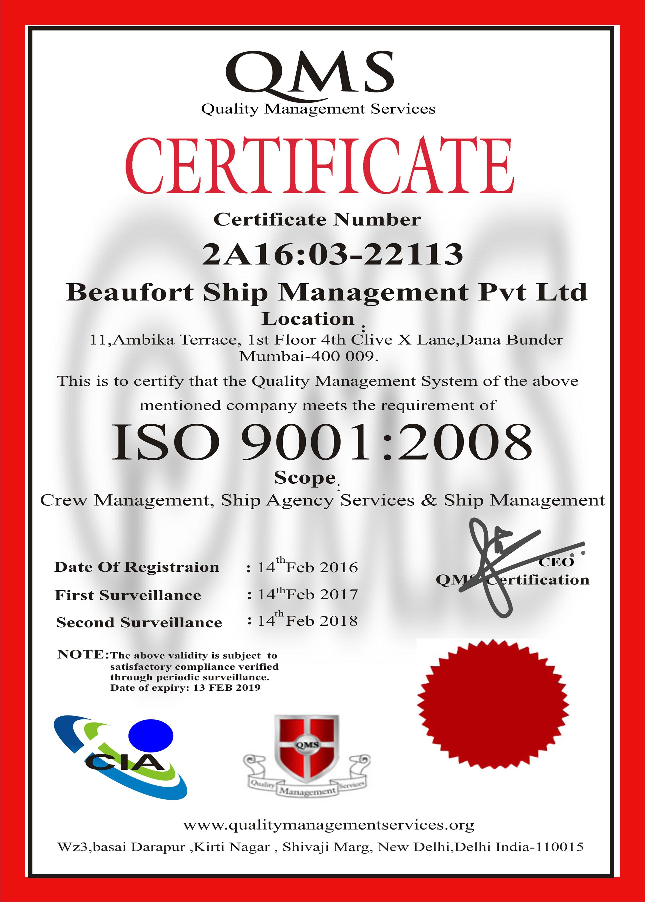 Beaufort Ship Management Pvt Ltd